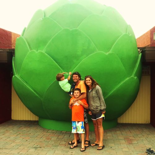 The Baker family at the Giant Artichoke in Castroville.
