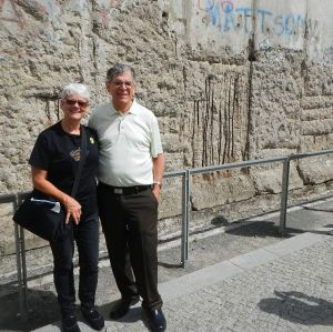 Michael and Janet Gray visit the Berlin Wall in Germany.