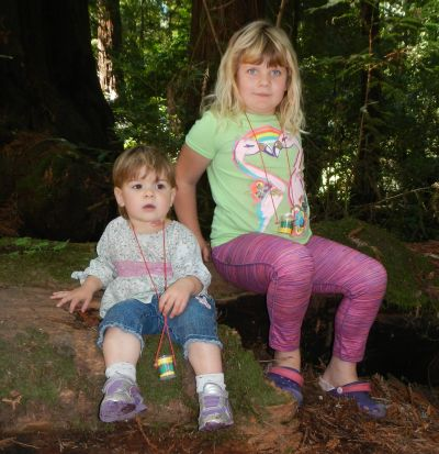 Kara and Minerva at Henry Cowell park.