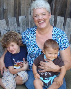 Janet Gray with grandsons Kyan and Clive Baker