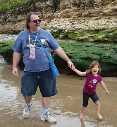 Minnie Siemer with her daddy near Natural Bridges.