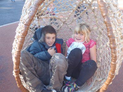 Kyan Baker and Kara Siemer at the San Francisco Zoo's new playground.