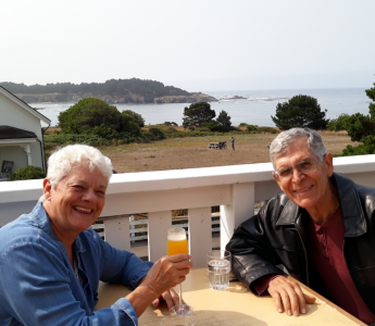 Janet and Mike at the Flow Restaurant in Mendocino