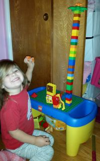 Minnie Siemer with her tower.