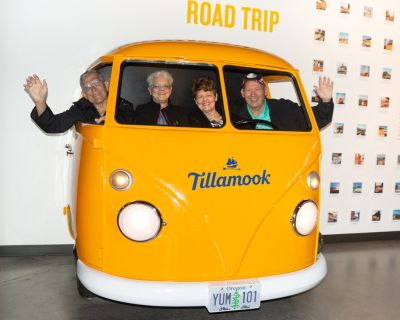 Mike Gray, his wife Janet, and Gail and Lane Johnston at the Tillamook Cheese Factory.